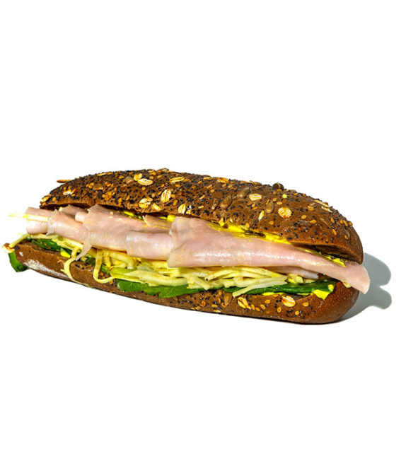 Turkey, spinach, celery and curry mayonnaise on grain bread