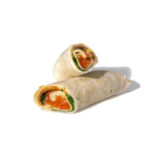 Smoked Salmon wrap with pickle mayonnaise and watercress