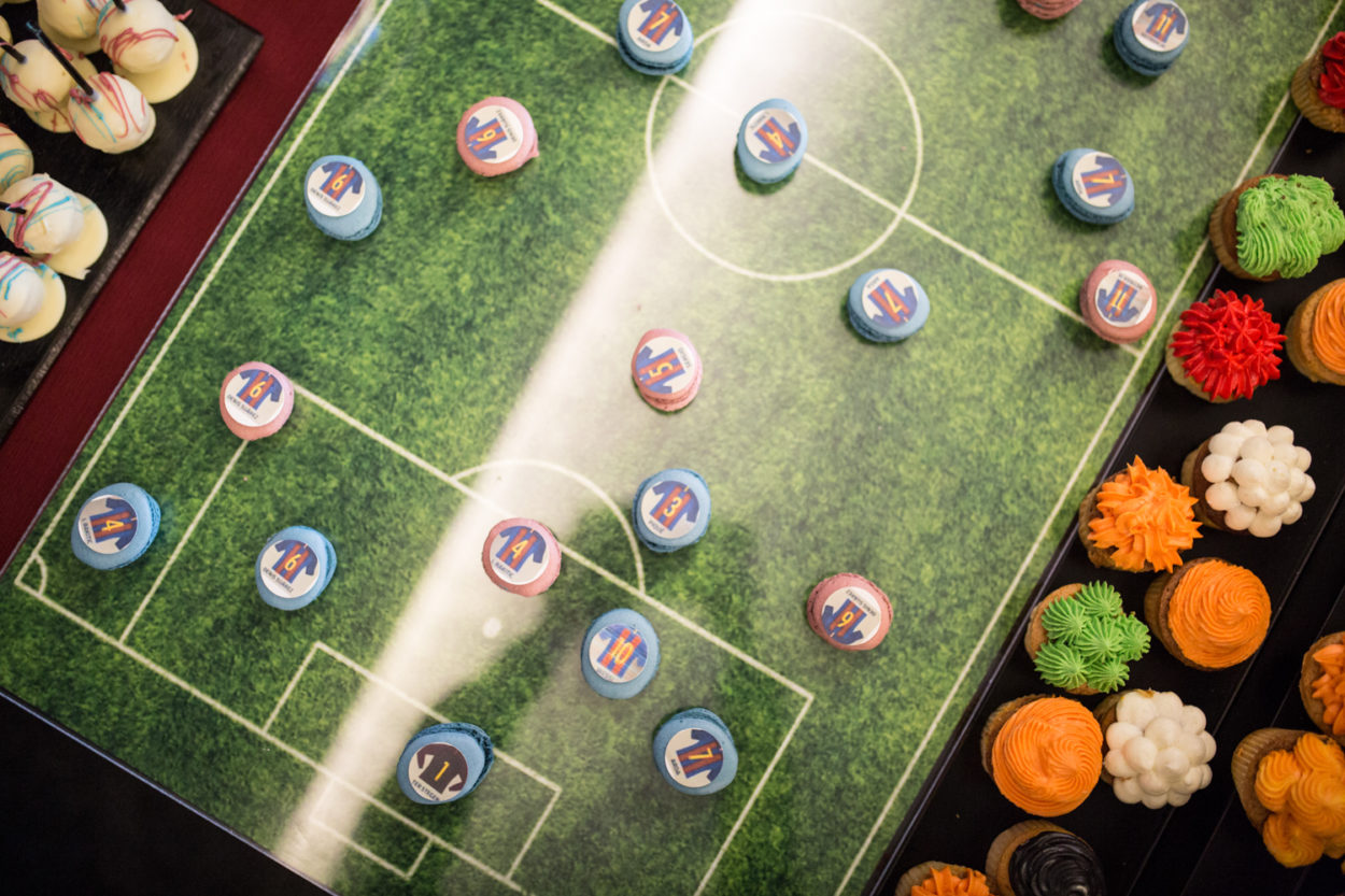 FC Barcelona Coffee break macarons football pitch